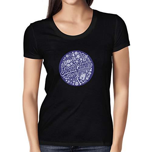 NERDO Damen Board Games Addict 2 T-Shirt, Schwarz, S - Addict-schwarz-t-shirt