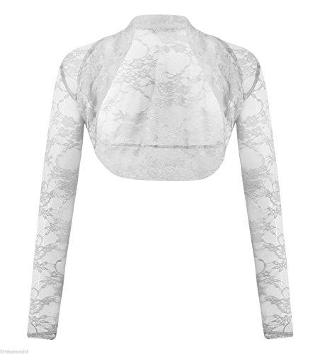 MIXLOT Nouvelles femmes Bolero à manches longues à manches longues en dentelle Sheer Mesh Shrug white