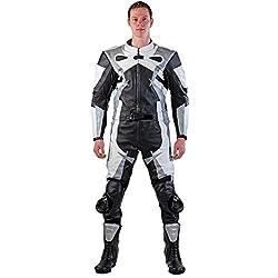 Lemoko Leder Motorradkombi Zweiteiler schwarz weiß silber Gr S