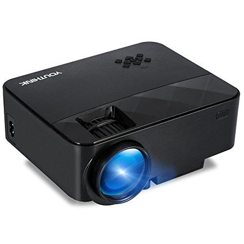 Video Proyector Full HD 1080P Mini Proyector LED 1500 Lúmenes 800*480 con Interfaz de HDMI VGA USB con 2W Altavoz y Gran Pantalla 120 Proyector de Cine Compatible con Móvil PC Xbox One PS4 WII Videojuegos TV y Ver Fútbol Películas ect, Negro (T21 Negro)