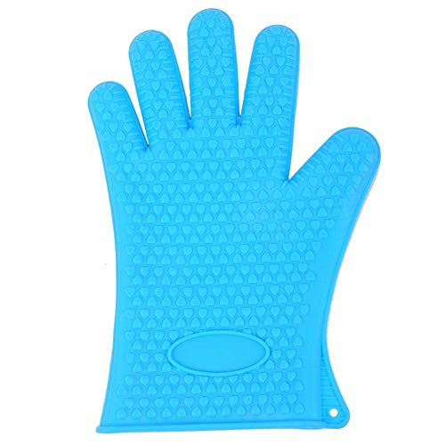 H-ONG Silicone Oven Mitts Heat Resistant Microwave Oven Gloves Baking Cooking Glove Waterproof and Non Slip Long Size Kitchen Mitts for BBQ Cooking Baking Grilling Microwave 1 Piece (Blue)