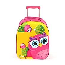 Bouncie Kinder-Trolley mit 3D-Eulen-Motiv, Kinderreisekoffer, Kindergepäck, pink