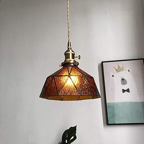 Mediterranen Stil Pendelleuchte, Glasschirm/Messing Lampenkopf, Mosaikmuster Hängeleuchte, Ideal für Veranda, Esszimmer, Schlafzimmer,Amber(4Wbulb),20cm -