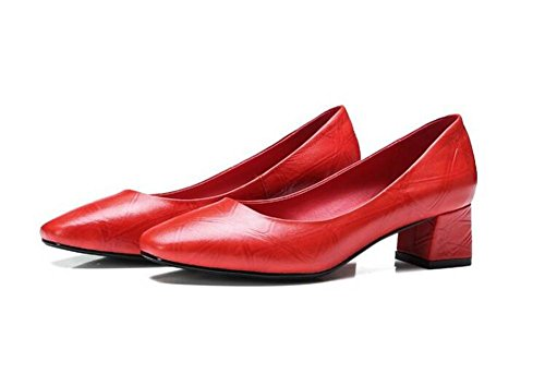 Beauqueen Pompes Fashion Lattice Mary Janes Square-Toe Chunky Heel Elegant Work Shoes EU Taille 34-39 Red