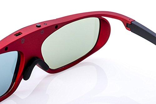 Hi-SHOCK® RF Pro Scarlet Heaven - Funk 3D Brille für EPSON, JVC, SONY 4K 3D Beamer - kompatibel zu ELPGS03 - JVC PK-AG3 & PK-EM2 Emitter - TDGBT500A - Shutterbrille - 120 Hz - Akkubetrieb - rot