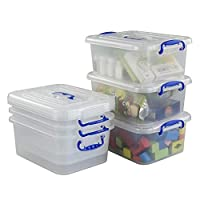 Hokky 9 Liter Transparent Plastic Storage Boxes Set of 6, Storage Boxes with Lids