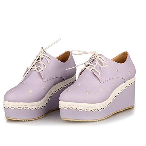 VogueZone009 Femme Lacet à Talon Haut Pu Cuir Couleur Unie Rond Chaussures Légeres Violet