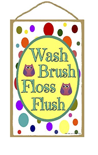 7 Flush (tian huan88 Wash, Brush, Floss, Flush Owls & Polka Dots Sign 7