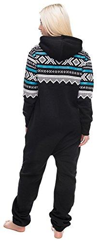 Loomiloo® Jumpsuit Freizeitanzug Overall Hausanzug Einteiler Strampler Anzug Pyjama Aztec Aztek Schwarz