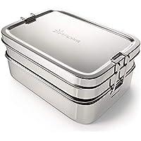 qarapara - Große Edelstahl Brotdose/Lunchbox mit Fächern und 2 Ebenen, plastikfrei