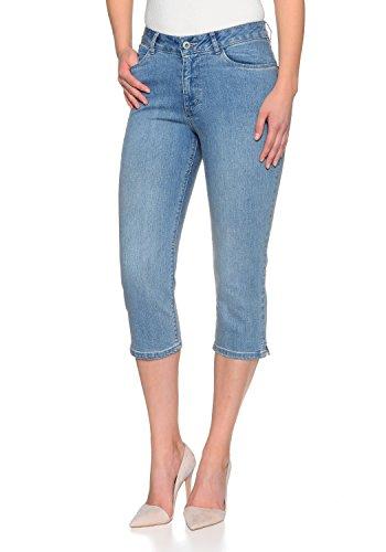 Stretch Capri Jeans Hose Tahiti Slim fit Damen Bermuda 7/8 Hose in vielen Farben (W36, Light Blue Used) Stretch-capri-jeans