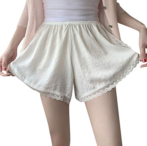 WOZOW Shorts Kurze Hose Damen Solid Lace Soft Bequem Pyjama Bottom Safety Trousers Hosen Casual Elegant Loose Lose High Waist Mini Stoffhose Freizeithose (one,Sahne) Juicy Velour Hoodie