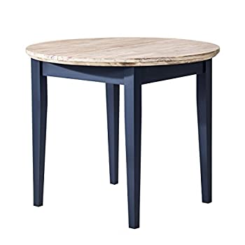 Florence round extended table (92-117cm). Navy Blue extending kitchen dining table with limed
