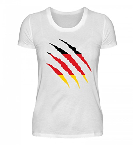 PlimPlom Hochwertiges Damenshirt - Deutschland WM Fan Tshirt Deutsche Nationalmannschaft Shirt Trikot