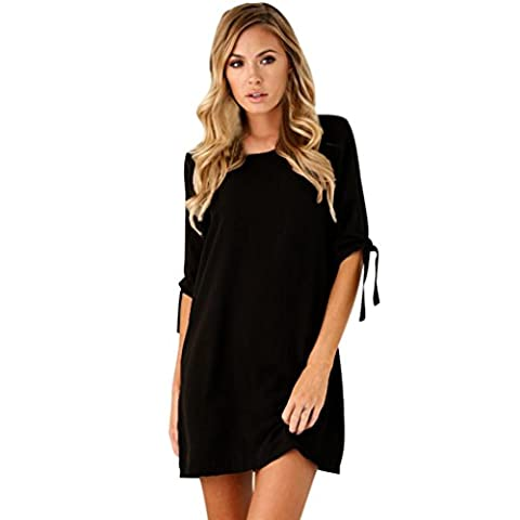 moony Femmes Bow solide col rond manches courtes manches Cocktail Mini robe (XL, noir)