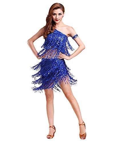Jonact Damen Latein Kleid Quaste Strass lateinisches Tanzkleid Ballsaal Kleid Rot Tanzkostüm für Tango Salsa Tanzbekleidung
