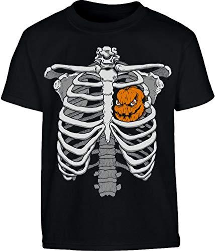 Halloween Skelett Brustkorb Mit Kürbis Kinder T-Shirt 7-8 Jahre (128cm) Schwarz (Of Halloween-kostüm Hearts Jack)