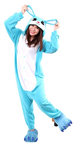 Honeystore Jumpsuit Tier Cartoon Häschen Fasching Halloween Kostüm Sleepsuit Hase Cosplay Pyjama Schlafanzug (Kostüm Ideen Halloween Herren Selbstgemacht)