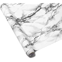 Homeme Marble Wall Paper, 500 x 40cm Self-Adhesive Wallpaper Decorative Removable Contact Paper with PVC Waterproof Oil-proof for Kitchen Countertop Cabinet Furniture-Ink white