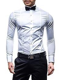 BOLF Hombres Elegante Camisa del smoking y del vestido + pajarita + Gemelos 4702