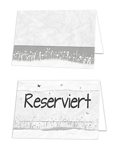 100 Stück Reserviert-Schilder schwarz-weiß graue Blümchen Tischkarten Klappkarten zum Hinstellen Tisch-Reservierung Restaurant Hotel - für Gäste Hochzeit Kommunion Taufe Geburtstag