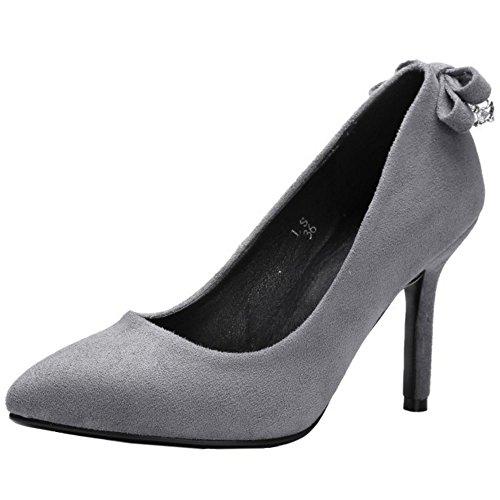 Bombas Senhoras Taoffen Elegante Stiletto Sapatos De Salto Alto Cinza