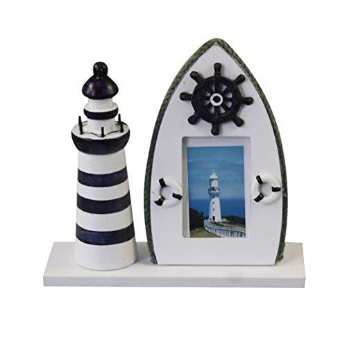 HarmonyHappy Maritime Leuchtturm Fotorahmen Fotohalter Bilderrahmen Rahmen Tisch Deko Holz - Ruder, 19x6x18.5cm