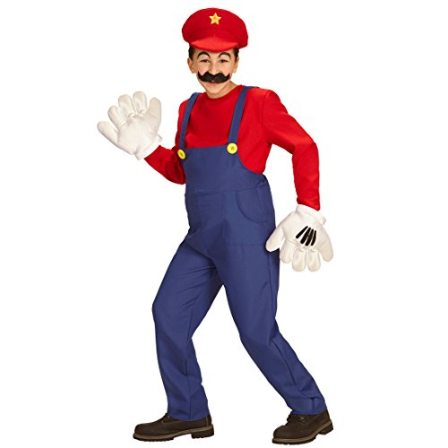 NET TOYS Kinder Super Mario Kostüm Faschingskostüm Klempner 116, 4 - 5 Jahre Ganzkörperkostüm Super Mario Brothers Superhelden Kinderkostüm
