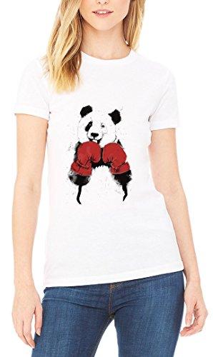 Panda Boxing Graphic Women's T-shirt Blanc