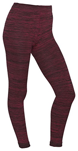 bordeaux-meliert Damen Thermo Leggings gefüttert mit Innenfleece | extra warm Winter Herbst - Piarini 42/44 - Fleece Leggings