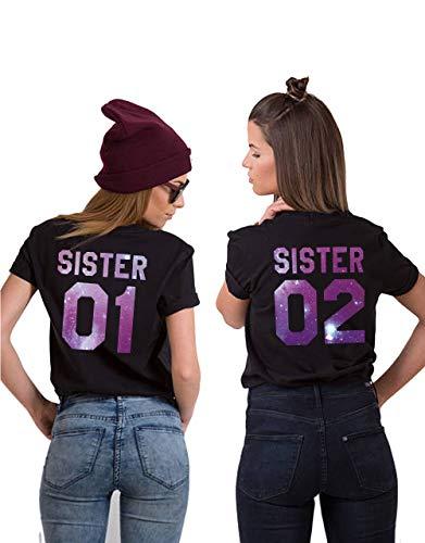 Beste Damen-t-shirts (Sister Shirts Best Friends T-Shirts BFF T-Shirt für Zwei 2 Mädchen BFF Oberteile BFF Geschenke 2 Stücke (Schwarz-Sky-Zi, Sister01-XL+Sister02-S))