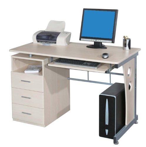 SixBros. Computerschreibtisch mit viel Stauraum, 3 Schubladen, Tastaturauszug, Schreibtisch in Ahorn Holzoptik, 120 x 58 cm -