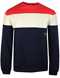 Paul   Shark Sweatshirt Mens RED Cream Navy Panel Crew Neck TOP 45c8f689e596