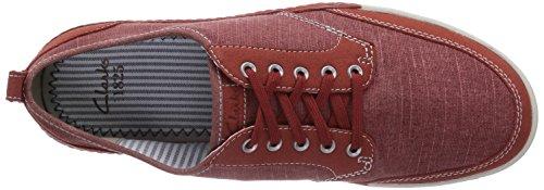 Clarks - Slaten Edge, Sneaker basse Uomo Rosso (Rot (Red Canvas))