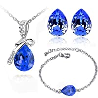 Women Jewelery set, Zinc Alloy, Austrain Teardrop Crystal