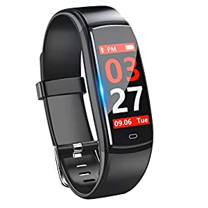Pulsera de Actividad,GLAMSVILL Reloj Inteligente Deportivo Rastreador de Fitness Con Monitor de Presión Arterial y Frecuencia Cardíaca,Para Dispositivos Android y IOS (Negro)