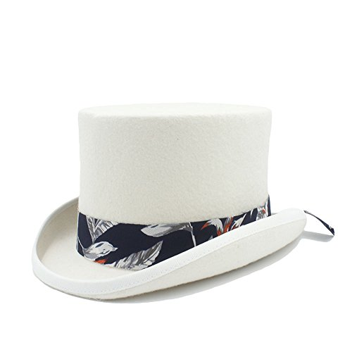 ür Frauen / Männer Steampunk Bowler Magic Hat Mad Hatter Mode ( Color : White , Size : 57CM ) (Diy-halloween-kostüm Für Männer)