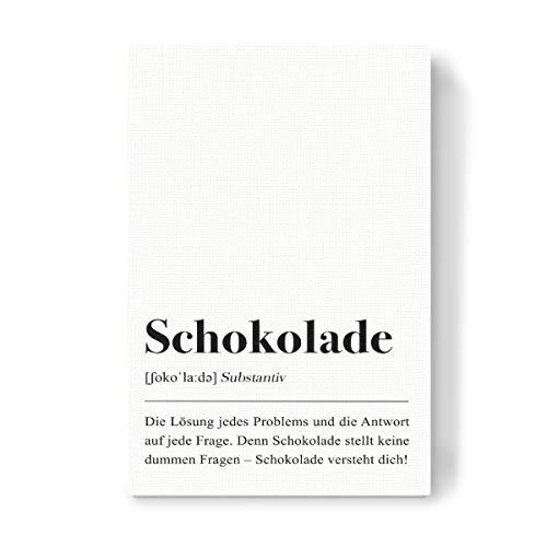 artboxONE Leinwand 30x20 cm Typografie Schokolade Definition (deutsch) von Pulse of Art