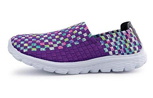 YEEY Frauen Gewebe Licht elastisch Trainer Komfort Slip Sport Schuhe Knitting Sportschuhe Schuhe komfortable Schuhe Purple