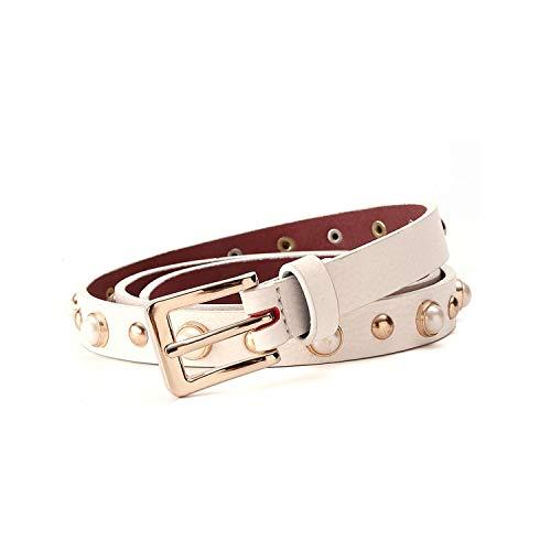 HGblossom Pearl Belt Women Metal Belt With Gold Buckle Belt 2.0 Cm Width,Beige,85Cm 26To29 Inch