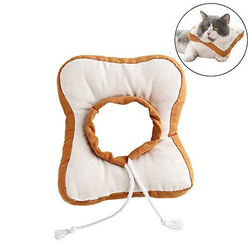 HanryDong süßes Toast Brot Katzen-Kostüm und Krawatte für Halloween, Partys, Bilder, weiches Hundehalsband, verstellbares E-Kragen blockiert Nicht die Sicht, Chirurgie Weichkegel Kissen für Kaninchen