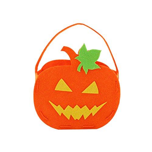 Tinksky Halloween Kürbis Tasche Kinder Süßigkeiten Tasche für Halloween Party Kostüme (Green Leaves Peaked Eyes) (Kunst Schule Halloween Kostüme)