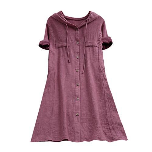 Zegeey Damen Kurzarm Oberteil T-Shirt Rundhals Ausschnitt Baumwolle Und Leinen Cat Drucken Asymmetrischer Saum Lose LäSsige Bluse Hemd Shirt Blusen Locker Basic Tops(B5-Rosa,M)