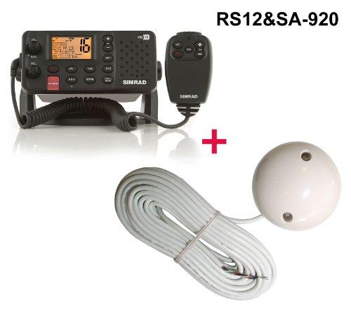 SIMRAD RS12E UKW-Seefunkanlage (D DSC / ATIS Funktion) inklusive 48 Kanal Sirf Star 4 -163dBm Evermore SA-920 GPS Empfänger und Handmikrofon mit 5 Tasten - Marine Schiff Yacht Boot Funkgerät mit GPS Satelliten Empfänger für Navigation RS 12 plus SA-920