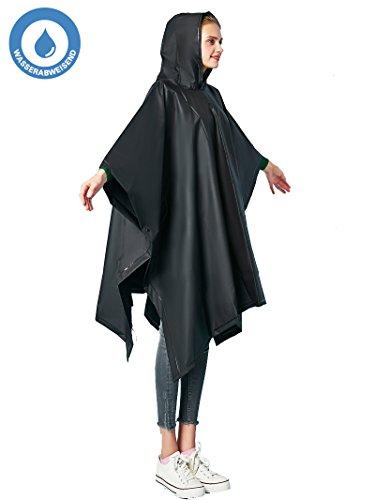 Poncho per la pioggia da uomo/donna, 100% impermeabile, tinta unita, taglia unica, riutilizzabile, pieghevole, nero, one sized
