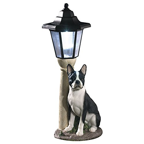 Bits and Pieces-Solar Boston Terrier Laterne, solarbetrieben, Harz, Hundeskulptur mit LED-Licht