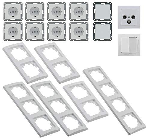 Rahmen-teile-set (Delphi Steckdosen Schalter Set Wohnzimmer 20 Teile I Steckdosen Schalter TV Antenne Unterputz Einbau I Weiß)