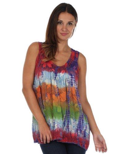 Sakkas Chemisier Sans Manches Multicolore Tie and Dye Floral à Paillettes Corail