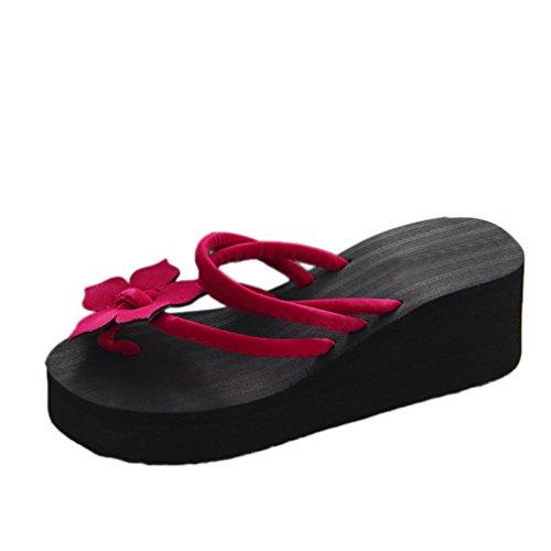 Produktbild Vovotrade Damen Sommer PU Leder Bohemia Flach Sandalen Damen Freizeit Blume Rutschfest Plattform Schuhe Keile Hoch Absätze Hausschuhe (EU Size:38,  Rot)