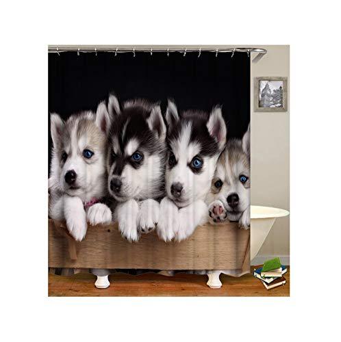 Wasserdicht Duschvorhang 180x180 cm Haustiere Hunde Badvorhang Vintage ()